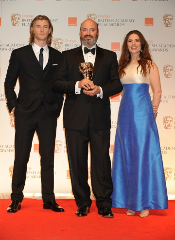 Presenters Chris Hemsworth and Hayley Atwell with BAFTA-winning costume designer Mark Bridges.