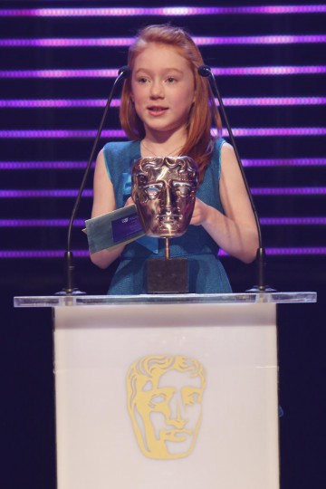 Cherry Campbell collects the BAFTA for Performer at the British Academy Children's Awards in 2014