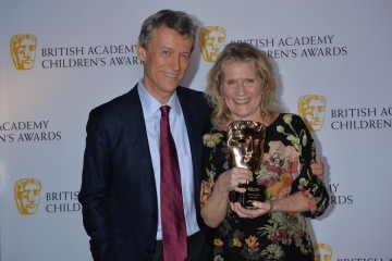 Jocelyn Stevenson wins the Special Awards category at the British Academy Children's Awards in 2015, presented by Duncan Kenworthy.