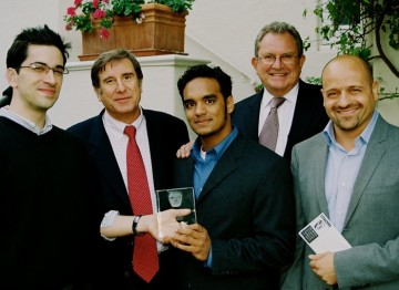 Gary Dartnall and Donald Haber with BAFTA Los Angeles' 2004 Student Film and Scholarship Winners.