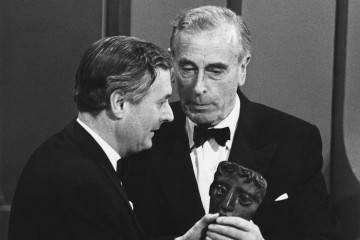 Richard Cawston collects the Desmond Davis Award from Lord Mountbatten at the Society of Film and Television Arts Awards.