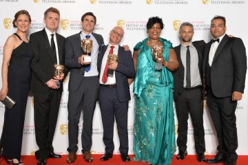 The Murder Detectives team pose with their award backstage
