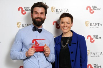 Michal Wdowiak - Winner in the Writer Category with presenter Janet Archer