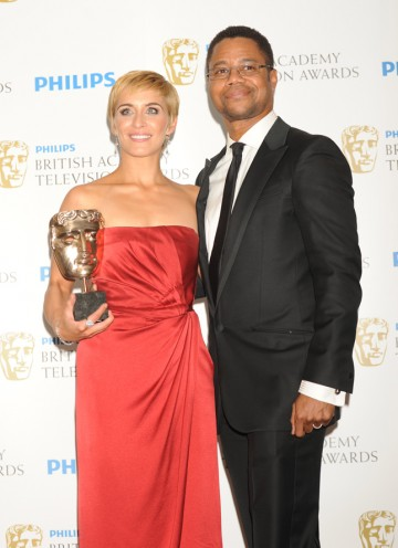 McClure won for her portrayal of Lol in This Is England '86. The award was presented by Cuba Gooding Jr, (Pic: BAFTA/Richard Kendal)