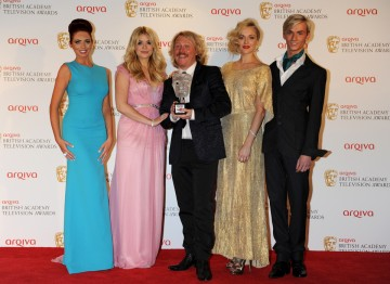TOWIE's Amy Childs and Harry Derbidge with Celebrity Juice's Holly Willoughby, Leigh Francis and Fearne Cotton, which won the YouTube Audience Award, the only award voted for by the public.