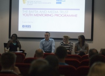 Niyi Akeju from BAFTA introducing Craig Martin of The Prince's Trust,  Hayleigh, a young beneficiary, and Louise Thomas from Media Trust to the recruitment evening