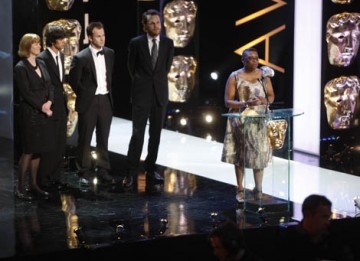 Producer Pier Wilkie, director Otto Bathurst, writer Peter Moffat and actor Ben Wishaw accept the Drama Serial award for Criminal Justice (BAFTA / Marc Hoberman).