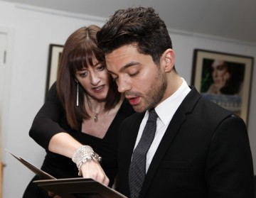 Dominic practices his lines with BAFTA CE Amanda Berry.