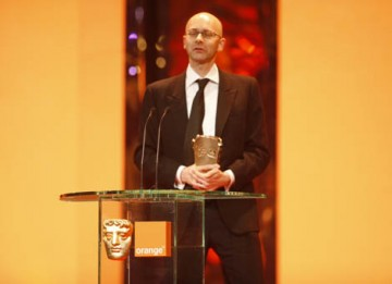 Chris Dickens collects Slumdog Millionaire's second BAFTA of the night for Editing (BAFTA / Marc Hoberman).
