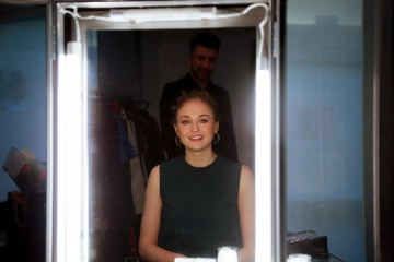 Sophie Turner backstage ahead of the announcement