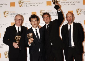 Atonement's Best Film BAFTA was collected by (l-r) producer Paul Webster, director Joe Wright and producers Tim Bevan and Eric Fellner (pic: BAFTA / Richard Kendal)