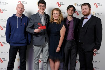 Pictured left to right - Mog, Iain Henderson, Laura Briggs, Stuart Jackson, Shaun Dempsey who won Best Entertainment for ' The Wee 'Hings.'