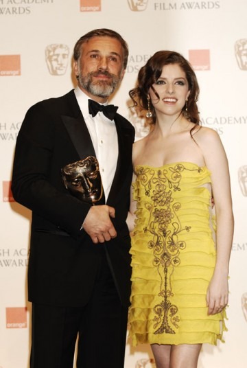 Winner of the Supporting Actor category, Christoph Waltz stands with Supporting Actress nominee Anna Kendrick (BAFTA/Richard Kendal).