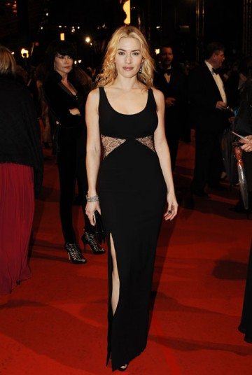 Double nominee for the same category at last year's Film Awards, Kate Winslet went on to win Leading Actress for The Reader and tonight parades the red carpet in a long black Stella McCartney dress (BAFTA/Richard Kendal).