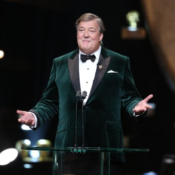 11th time host Stephen Fry welcomes guests and viewers around the world to the 2016 EE British Academy Film Awards