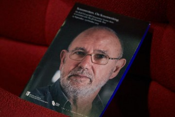 Brochures line the seats ahead of McGovern's Screenwriters' Lecture