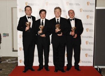 Wallander creators Richard Cottan, Kenneth Branagh, Philip Martin, Francis Hopkinson celebrate their Drama Series win (BAFTA / Richard Kendal).