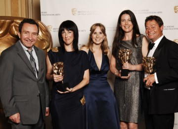BBC Sport representatives Cara Speller, Jonathan Bramley and Rebekah Kipps clebrating receiving the Titles award for Olympics 2008 with Happy-Go-Lucky star Eddie Marsan (BAFTA / Richard Kendal).