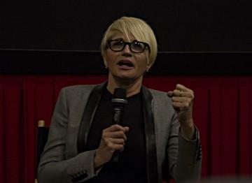 Moderator Ellen Barkin