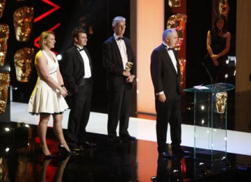 For the second year runinng, ITV's Formula One coverage claimed victory in the Sport category - this time for the season-clinching Brazilian Grand Prix. Neil Duncanson and Gerard Lane look shocked as they collected the award, believing the BBC's Olympic c