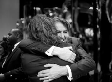 This year's host, Jonathan Ross congratulates The Wrestler star, Mickey Rourke on his Leading Actor BAFTA (Greg Williams / Art+Commerce).