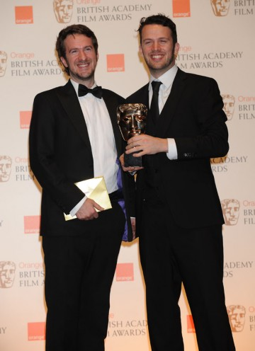 Short Animation winner Michael Please (r). (Pic: BAFTA/Richard Kendal)
