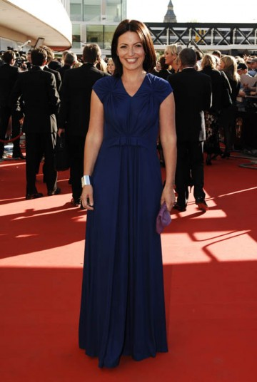 Big Brother presenter Davina McCall arrived at the Television Awards in a bold yet elegant navy dress by Liberty (BAFTA / Richard Kendal).
