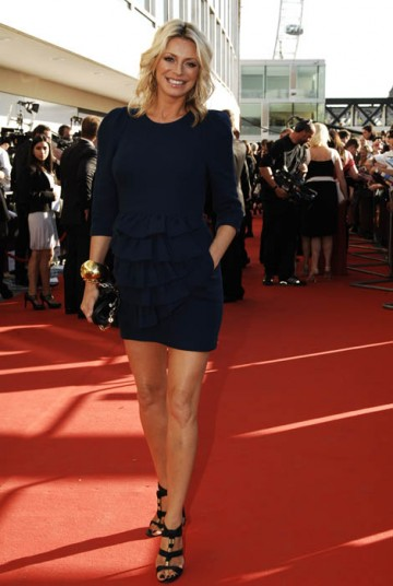 Tess Daly graces the red carpet in Philip Lim dress and Jimmy Choo shoes (BAFTA / Richard Kendal).