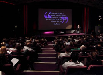 An Audience sits down for the lecture with scriptwriter Sir Ronald Harwood. (Photography: Jay Brooks)