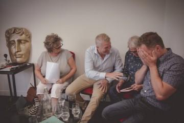 Helena Rogowska (Chwarel), David Parry Evans (Cwmni Da), Iestyn Garlick (Antena) and Bedwyr Rees (Rondo Media) share a joke