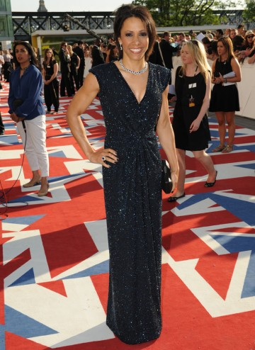 The double Olympic Gold Medal winning athlete will present the Sport & Live Event award alongside triple jumper Jonathan Edwards. She wears a dress by Bruce Oldfield