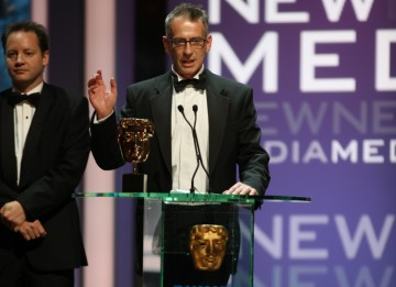 The New Media BAFTA is collected by the BBC Production The Virtual Revolution. (BAFTA/Steve Butler)