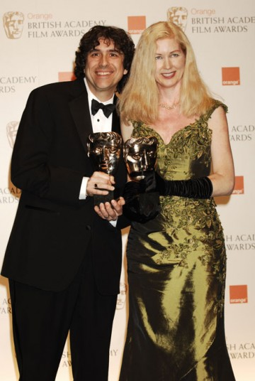 Bob Murawski and Chris Innis celebrate winning the Editing award for The Hurt Locker (BAFTA/Richard Kendal)