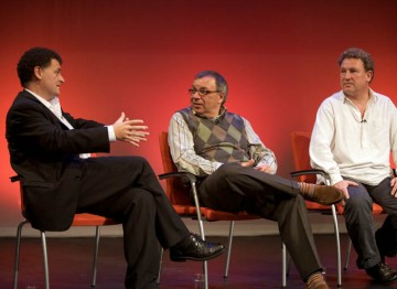 Steven Moffatt, Maurice Gran and Ashley Pharoah on stage (Image: BAFTA).
