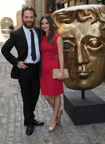 Charlotte Riley and boyfriend Tom Hardy arrive at the BAFTA TV Craft Awards.