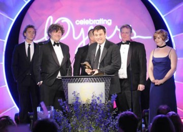 Will Cohen, Marie Jones and David Houghton from The Mill collected the Visual Effects award for the Doctor Who episode Fire Of Pompei (BAFTA / Richard Kendal).