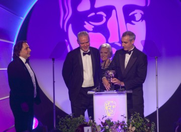 The winning team of the Editing Factual Award, for Frozen Planet (To The Ends Of The Earth) with food writer and star of Great British Bake Off Mary Berry.