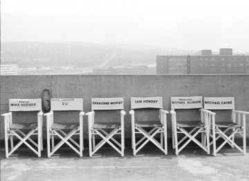 Production chairs on the set of Get Carter.