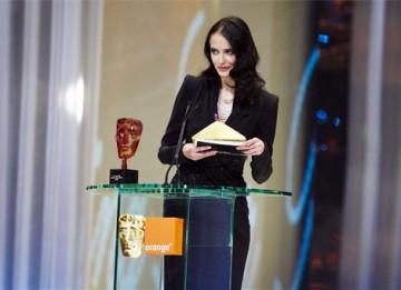 Orange Rising Star Award winner in 2007, Eva Green, presents the award in 2008 to Shia Labeouf (pic:BAFTA / Camera Press).