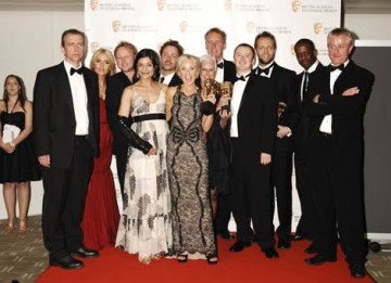 Citation readers Patsy Kensit-Healy and Adrian Lester with the cast of The Bill, winners of the Continuing Drama BAFTA at the British Academy Television Awards in 2009 (BAFTA/Richard Kendal).