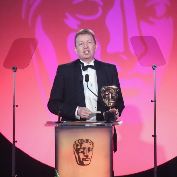 Robert Edwards accepts the award for Entertainment Craft Team sponsored by Hotcam at the British Academy Television Craft Awards in 2015 (Dave Davey and Falk Rosenthal not present)