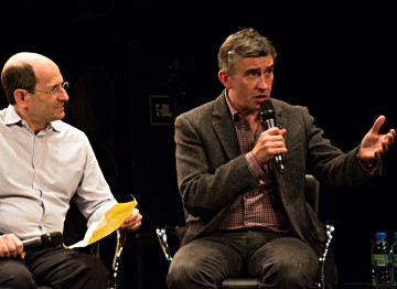 Moderator Brian Rose And Steve Coogan.