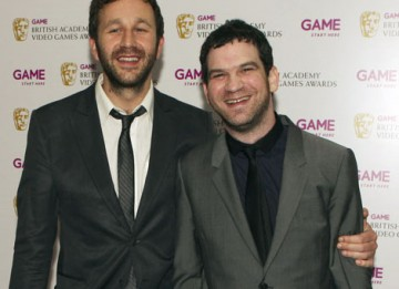 Chris O'Dowd and Miles Jacobson backstage after presenting the Use of Online BAFTA to FIFA 10.