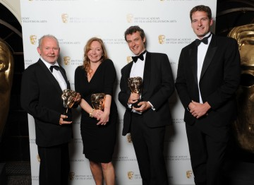 Tim Owens, Graham Wild and Kate Hopkins win the BAFTA for Sound: Factual, pictured here with Award presenter Dan Snow.