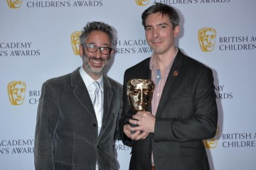 Guy Burt wins the Writer category at the British Academy Children's Awards in 2015, presented by David Baddiel.