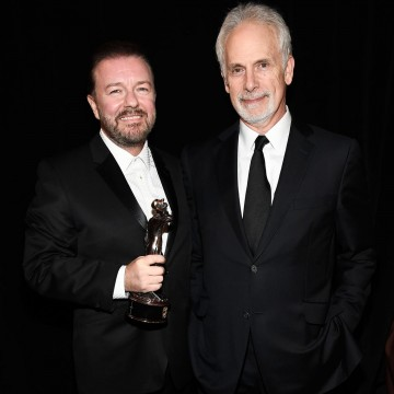 Honoree Ricky Gervais and his presenter Christopher Guest backstage after Ricky received the Charlie Chaplin Award for Excellence in Comedy