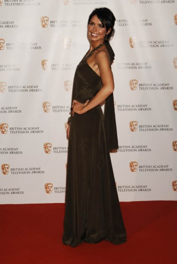 The One Show presenter and Strictly Come Dancing star Christine Bleakley arrived in a long, green Amanda Wakeley dress (BAFTA / Richard Kendal).