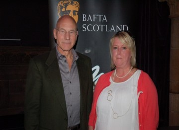 Sir Patrick Stewart with BAFTA Scotland's Acting Director Catherine Murtagh
