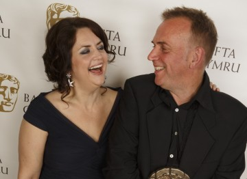 Ruth Jones with BAFTA Cymru Award winner Marc Evans