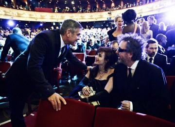 Tim Burton, George Clooney and Helena Bonham Carter at the 2012 Film Awards